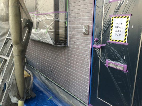 外壁のWB下塗り塗装作業完了