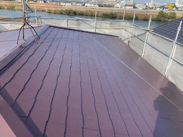 屋根の上塗り2回目塗装作業完了
