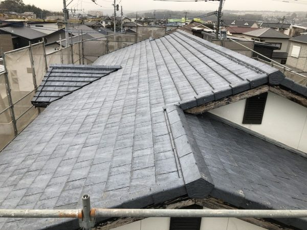 屋根の高圧洗浄作業完了
